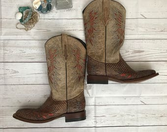 Lucchese Lizard Leather Cowboy Boots-LIKE NEW