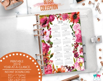 Printable Calendar A5 A4 Letter Watercolor Planners 2019 Year at a Glance | Blush Floral Collection | BCYG19