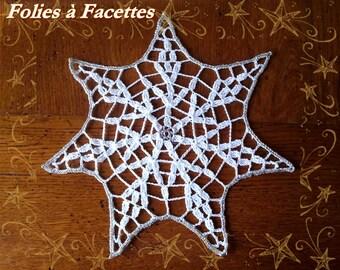 Crochet doily star Christmas silver and white
