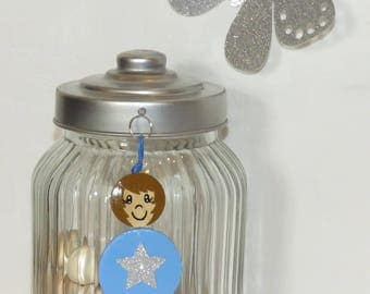 Bag charm, Keychain, best friend, blue, Star Sequin, Pearl wood, handpainted, balls of smiles message, personalized