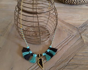 Necklace turquoise and black tassels