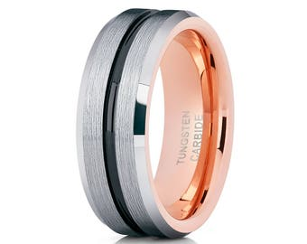 Rose Gold Tungsten Wedding Band Brush Silver Black Tungsten Wedding Ring Men & Women Tungsten Carbide Ring
