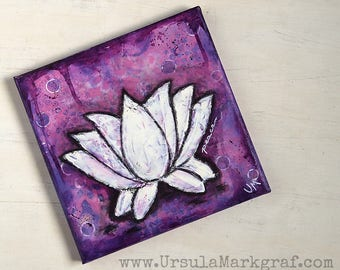 Lotus-Keilrahmen Kollektion- Love-Peace-Healing, Original Mixed media Kunstwerk, Keilrahmen, 20cm x 20cm, Wandbild, Leinwand, Yoga-Liebhaber