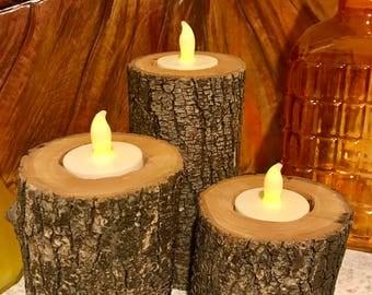 Rustic Log Candle Holders