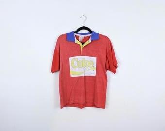 Vintage Coca Cola Polo Rugby Shirt / Short Sleeve / Yellow / Blue / 80s / Small / Coke / Colorblock / Logo / Collar / Streetwear / Hip Hop /