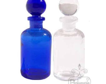 1 Bottle 1 oz Clear GLASS APOTHECARY Old World Style with Grounded Stopper Top Closure For Essential Oils Perfume Potions Alchemy Amulets