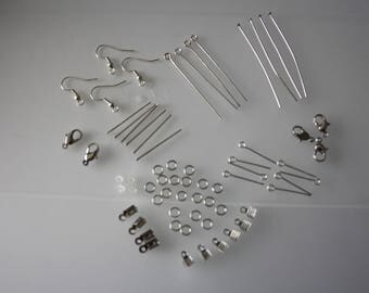 Set of silver tone for jewelry making findings