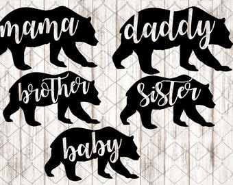 Bear SVG, Bear Monogram SVG, Bear Silhouette, Bear Family svg, SVG, dxf, instant download, digital cut file, silhouette studio, cricut