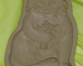 Cat with Bouquet of Flowers Brown Bag Cookie Art Mold 1983  Hill Design