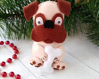 Dog Ornaments, Felt Animals, Felt Pug, Puppy, Christmas Decorations, New Year Symbols, Housewarming Decorations, Felt Puppy, Dog Lover