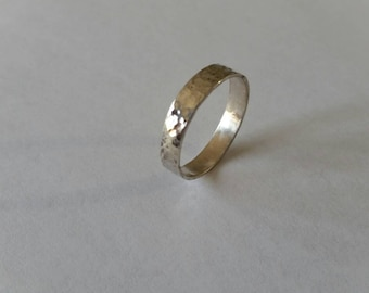 Handmade Hammered Sterling Silver Ring Size 11