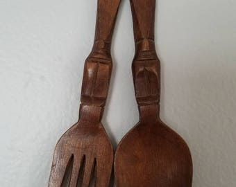 Small Wooden Fork and Spoon
