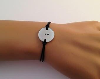 Semi colon Bracelet, Punctuation Bracelet, Minimalist Bracelet, Hand Stamped, Adjustable Bracelet, Gift For Him, Gift For Her
