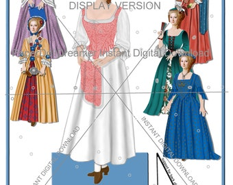 Printable Paper Doll - Sarah Kitchell Colonial Ancestor