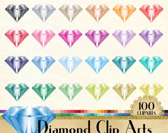 100 Transparent Diamond Clipart, Jewelry Clipart, Fashion Clipart, 100 Diamond Clipart, Planner Clipart, Transparent, Rainbow