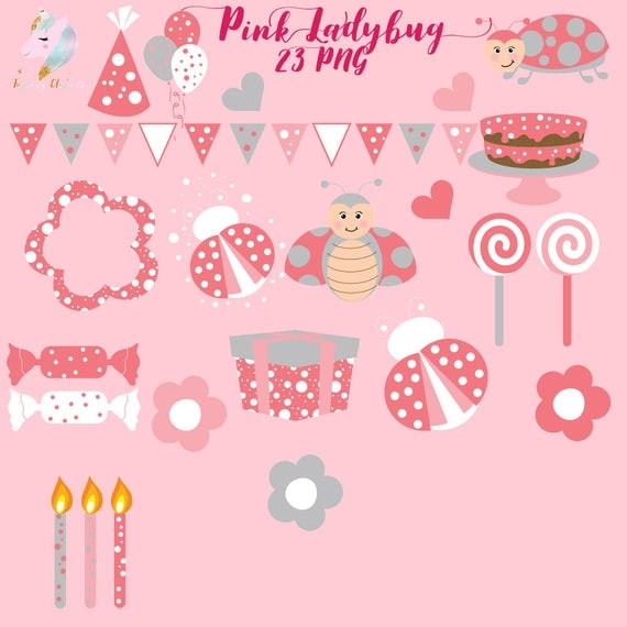 Pink Ladybug Clipart Lady Bug Clip Art Cute Insects Birthday