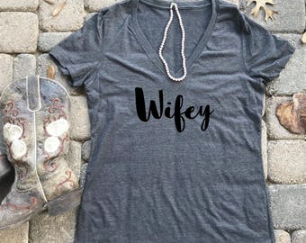 Wifey Shirt, Wedding, Gift for her, Bridal Party, Wedding Gift,  Bride to be, wife, wife shirt, Wifey Tee, Bride Shirt, Bride Tee V-Neck