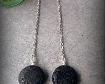Lava earrings, Essential oil diffuser, Silver earrings, Boho chic, Chain Earrings