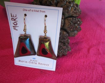 Bronze, red and black iridescent glass earrings