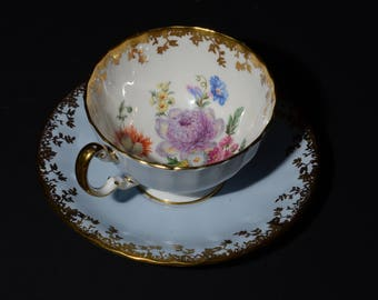 AYNSLEY, Bone China, light blue, Teacup and saucer, multi color flowers bouquet, hand painted, Gold Rimmed, 2354, RARE, vintage, collectible