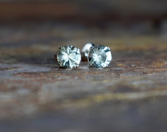 February Birthstone Earrings, 6mm Green Amethyst & Sterling Silver Stud Earrings, Prasiolite, Gemstone Earrings, Gift for Wife, Valentines