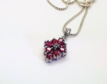 Ruby and Diamond Chip Cluster Pendant Sterling Silver Necklace/Vintage Ruby Necklace with 20 inch Sterling Silver Chain/Free Shipping US