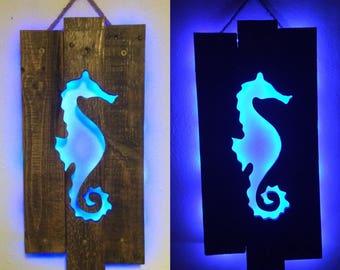 Seahorse Cutout Wall Art  Repurposed Pallets & LED Lit