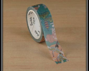 """masking tape """"flight of cranes"""" amid the patterned Japanese 15mm x 7 m"""