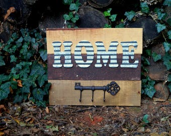 Home Metal and Reclaimed Wood Sign with Key Hook