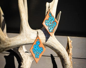 Analise Prickly Pear Turquoise Earrings | Leather Earrings | Birthday Gift | Anniversary | Gifts under 25 | Handmade | Gifts for Her