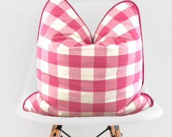 Pink Gingham Pillow Cover / Pink Farmhouse Decorative Throw Pillow / Pink and White Pillow Cover / Pink Piping