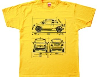 FIAT 500 NEW & OLD yellow tshirt classic car vintage italy italian