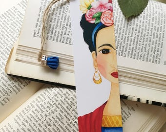 Frida Kahlo Bookmark // Book Accessories // Watercolor Illustration // Laminated Bookmark with Tassel