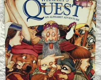 Whatley's Quest:  An Alphabet Adventure||vintage 1995 children's book, collectible, First Edition, alphabet book, search and find, ABC book