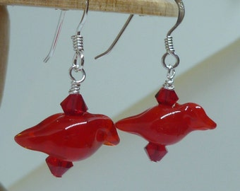 Earrings Lovely red birds  with Swarovski crystals.