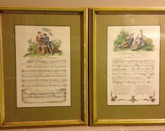 Vintage  Sheet Music Framed- French- Victorian