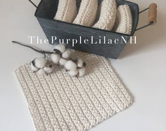 Crochet Dishcloth Set, 4 Cotton Dishcloths, Reusable Natural Cloths, Eco Friendly Dishrags, Kitchen Cleaning, Farmhouse Bridal Shower Gift