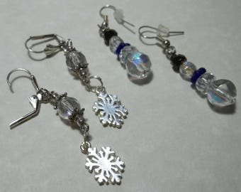 Snowflake and Snowman Earrings