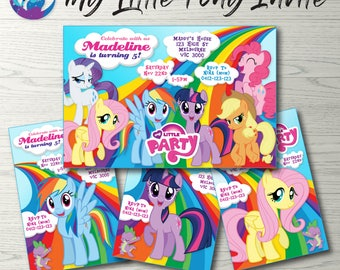 My Little Pony Invitation, My Little Pony Rainbow Invitation, My Little Pony Party Invitation, Rainbow Dash Invitation, MLP Rainbow Party
