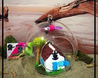 Glass Ball - Camargue House And Flamingo