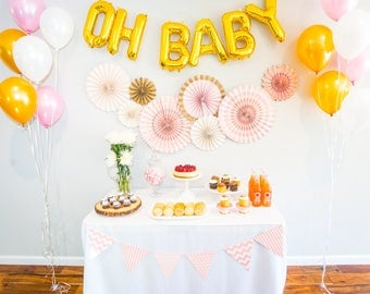 Pink 'Oh Baby' Shower Decorations Kit