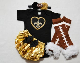 new orleans saints baby girl outfit - baby girls saints outfit - saints baby girl football outfit - new orleans saints football baby girl