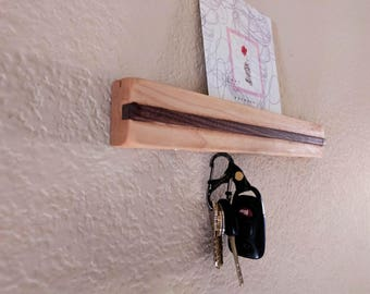 Magnetic Key holder | Wall Mount | Maple and Walnut | Key Hook | Mail slot | Handcrafted | Wooden