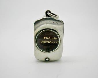 Sampson Mordan silver box with miniature dictionary. London 1893