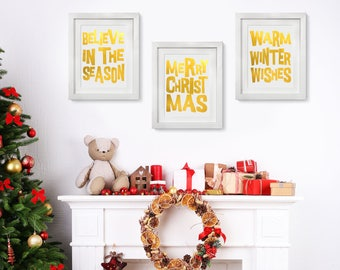 Real Foil Christmas Message Wallart, Gold Foil, Holiday Decoration, Actual Foil, Merry Christmas, Warm Winter Wishes, Believe in the Season