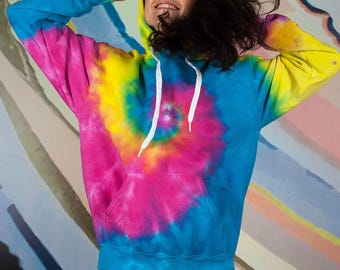 Hippie rainbow tie dye hoodie gift for her Blue Pink Green Yellow Clothing gift
