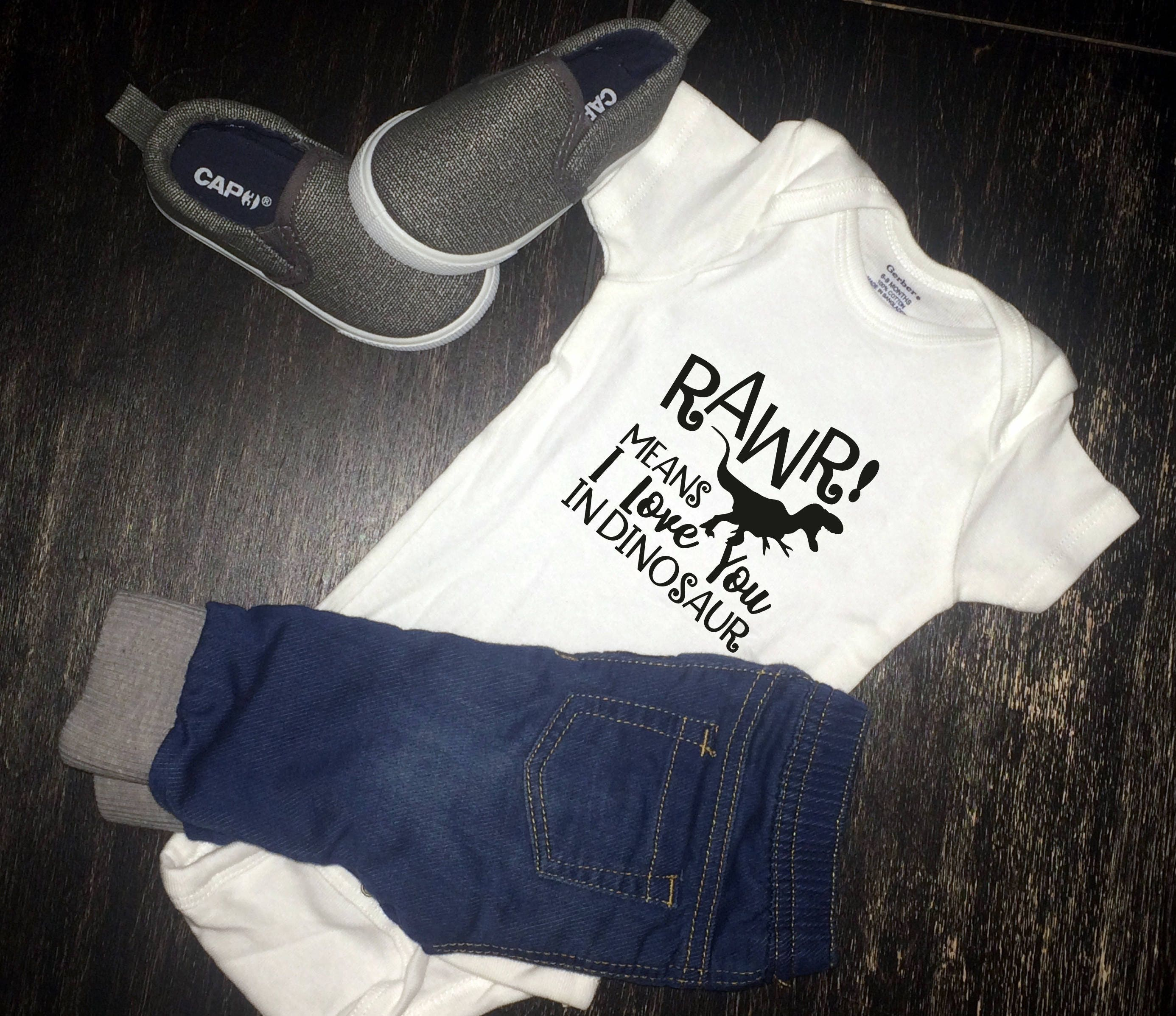 Rawr means I love you in dinosaur baby shirt Infant Bodysuit