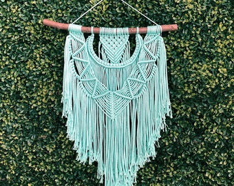 Mint Green/Blue Macrame Wall Hanging on a Foraged Branch, Woven Wall Hanging, Boho Hippie Tapestry, Bohemian Decor, Statement Piece