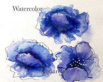 Painting watercolor,Aquarelle,>Poppy painting,art collection,Coquelicots,Peinture aquarelle,free shipping,livraison gratuite,Art,Aquarelles