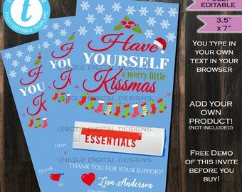 Rodan Fields Merry Kissmas Card Customer Holiday Gifts pc gifts BBL R+F Christmas Skin - Personalize Printable Custom INSTANT Self EDITABLE